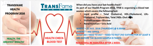Blood Test Invitation Card